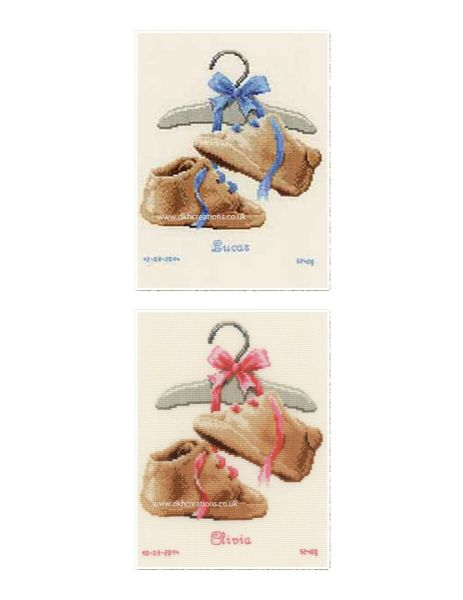 My First Shoes Birth Sampler Cross Stitch Kit